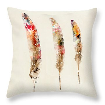 3 Feathers Throw Pillow by Bri B