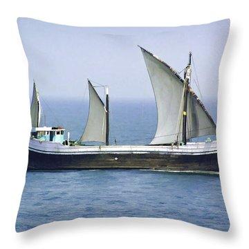 Fishing Vessel In The Arabian Sea Throw Pillow by Ashish Agarwal