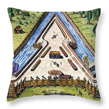 Fort Caroline, 1564 Throw Pillow by Granger