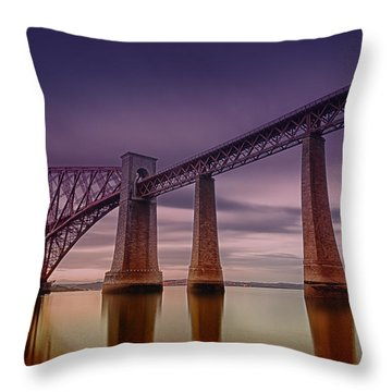Forth Rail Bridge Throw Pillow