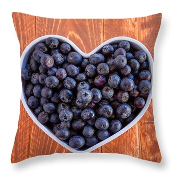 Fresh Picked Organic Blueberries Throw Pillow by Teri Virbickis