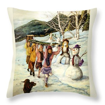 Frosty Frolic Throw Pillow by Linda Simon