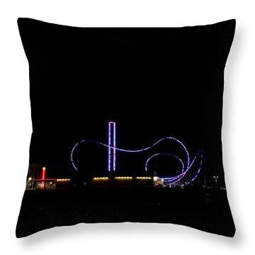 Galveston Texas Pleasure Pier At Night Throw Pillow