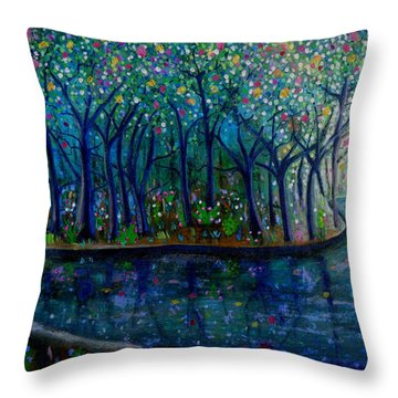 Glistening Forest Lake Throw Pillow