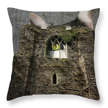 Gothic Kitty Throw Pillow by Suzanne Powers