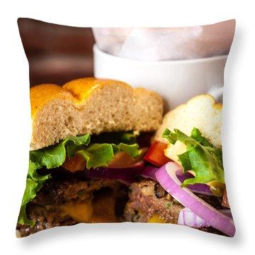 Gourmet Pub Hamburger Throw Pillow