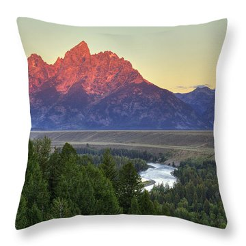 Throw Pillow featuring the photograph Grand Tetons Morning At The Snake River Overview - 2 by Alan Vance Ley