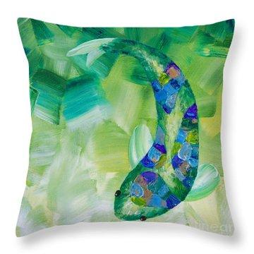 Green Koi Throw Pillow