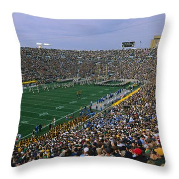 High Angle View Of A Football Stadium Throw Pillow