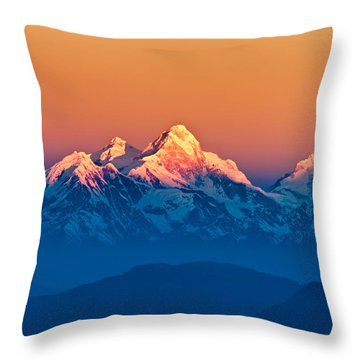 Himalayan Mountains View From Mt. Shivapuri Throw Pillow by Ulrich Schade