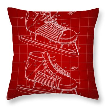 Hockey Shoe Patent 1934 - Red Throw Pillow
