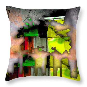 Houston Map And Skyline Watercolor Throw Pillow by Marvin Blaine