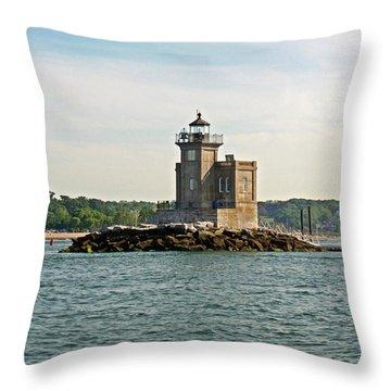 Throw Pillow featuring the photograph Huntington Lighthouse by Karen Silvestri
