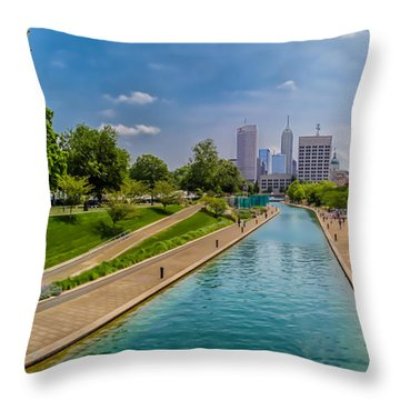 Indianapolis Skyline From The Canal Throw Pillow