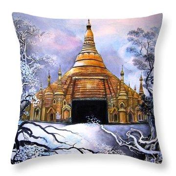 Interpretive Illustration Of Shwedagon Pagoda Throw Pillow