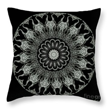 Kaleidoscope Ernst Haeckl Sea Life Series Black And White Set On Throw Pillow by Amy Cicconi