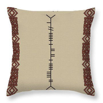 Throw Pillow featuring the digital art Kelly Written In Ogham by Ireland Calling