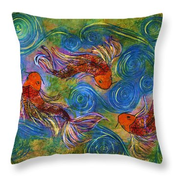 Koi Mating Dance Throw Pillow