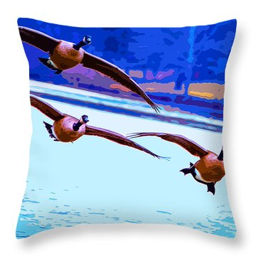Throw Pillow featuring the mixed media Lake Landing by Brian Stevens