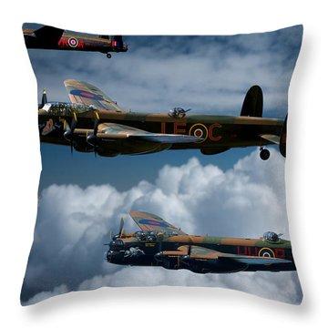 3 Lancaster Bombers Throw Pillow by Ken Brannen