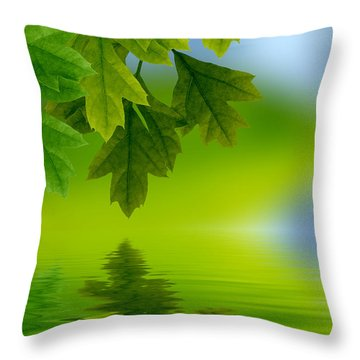 Leaves Reflecting In Water Throw Pillow
