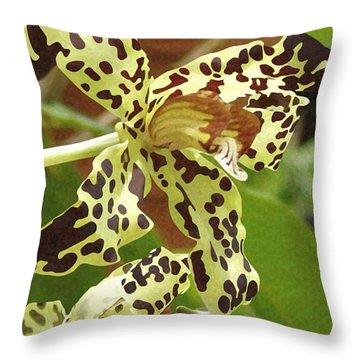 Leopard Orchids Throw Pillow