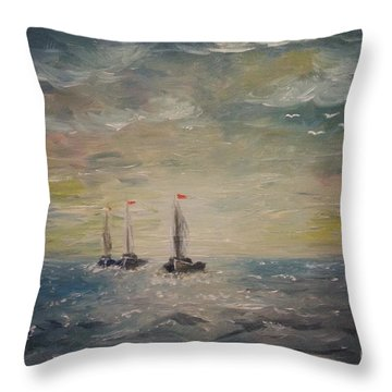 3 Little Boats Throw Pillow