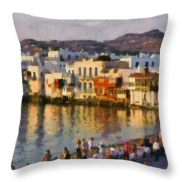 Little Venice In Mykonos Island Throw Pillow