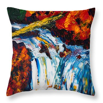 Log And Waterfall Throw Pillow