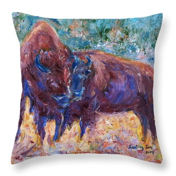 Throw Pillow featuring the painting Love Season II by Xueling Zou