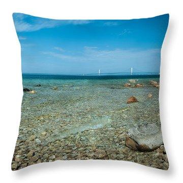 Mackinac Bridge Throw Pillow by Larry Carr