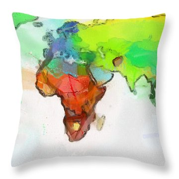 Throw Pillow featuring the painting Map Of World by Georgi Dimitrov