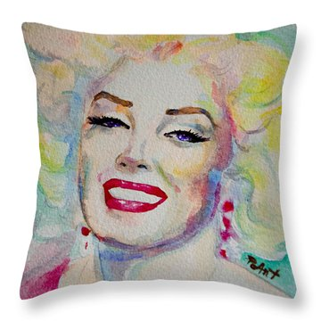 Throw Pillow featuring the painting Marilyn by Laur Iduc