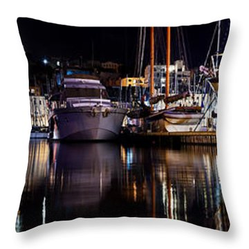 Marseille France Panorama At Night Throw Pillow by Michal Bednarek