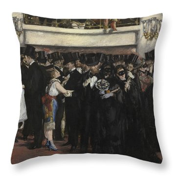 Masked Ball At The Opera Throw Pillow by Edouard Manet