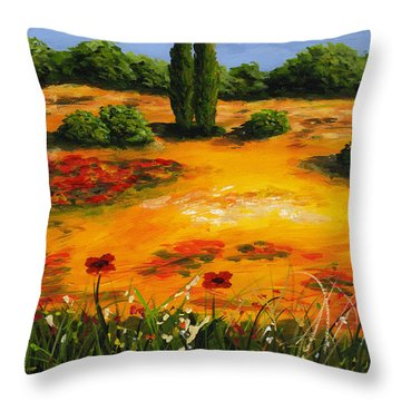 Mediterranean Landscape Throw Pillow by Edit Voros