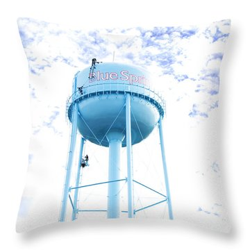 3 Men Painting The Blue Springs Water Tower Throw Pillow by Andee Design