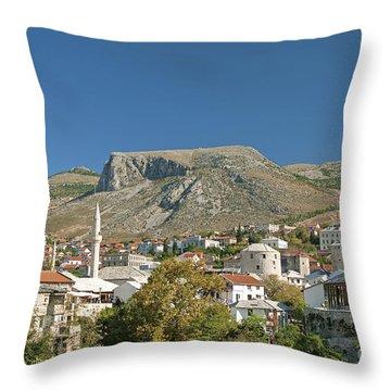 Mostar In Bosnia Herzegovina Throw Pillow