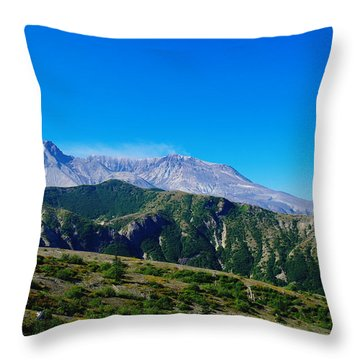Mt St Helens Throw Pillow by Jeff Swan