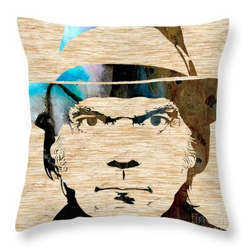 Neil Young Throw Pillow by Marvin Blaine