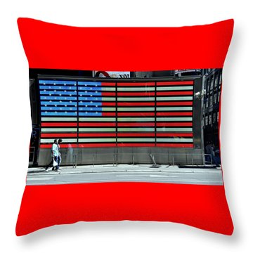 Neon American Flag Throw Pillow by Allen Beatty