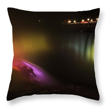 Niagara Falls Light Show Throw Pillow