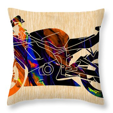 Ninja Bike Throw Pillow