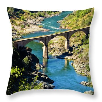 Throw Pillow featuring the photograph No Hands Bridge by Sherri Meyer