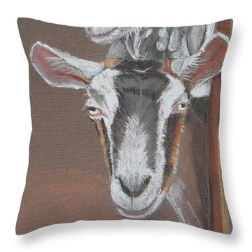 3 Nosey Goats Throw Pillow