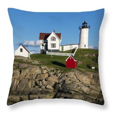 Nubble Lighthouse Throw Pillow by John Greim