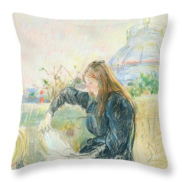 On The Balcony Throw Pillow by Berthe Morisot