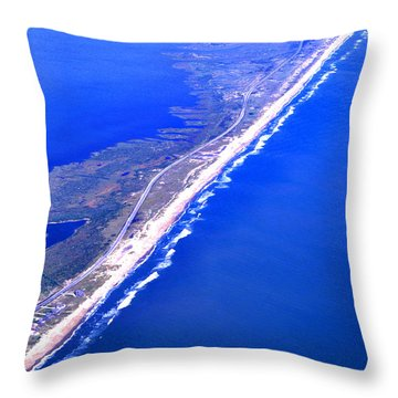 Outer Banks Aerial Throw Pillow by Thomas R Fletcher