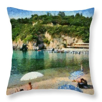 Paleokastritsa Beach Throw Pillow
