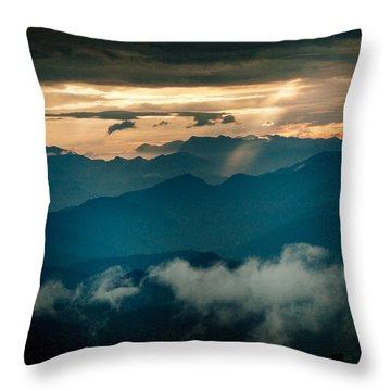 Panaramic Sunset Himalayas Mountain Nepal Throw Pillow